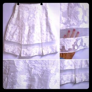 White Lace Lined Skirt NWOT